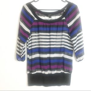 BWEAR STRIPED TOP 3/4 SLEEVES SHEER SIZE SMALL